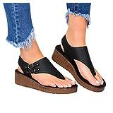 haoricu Women's 2020 New Comfy Platform Wedge Sandals Shoes Summer Beach Travel Shoes Comfortable Sandals Black