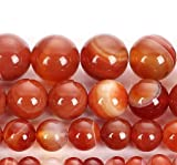 Hilo de perlas de aproximadamente 40 cm DIY (Cornalina, 8 mm).