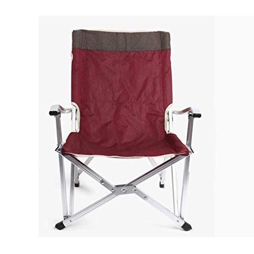 SMEJS Camping Chair Folding Heavy Duty with Adjustable Reclining Padded Back and Legs Supports, Armrest, Outdoor, Fishing, Garden (Size : S)