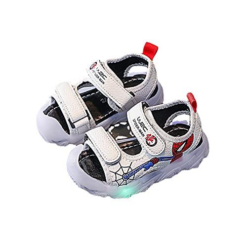 Sandalias para niños con luces LED de dibujos animados, para playa, para interiores y exteriores, zapatos de jardín (tamaño: 21, color: blanco)