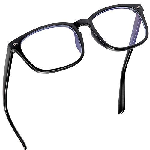 Gafas para ordenador filtro luz azul Antifatiga Sin Graduacion, Gafas Luz Azul para PC, Gaming, Tablet, Lectura, Video Juegos Hombre Mujer, Negro Mate