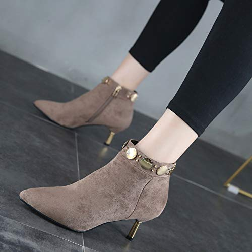 Shukun enkellaarzen kleine hak laarzen Women'S lente en herfst klinknagels puntige fijne hak hoge hakken herfst Martin laarzen