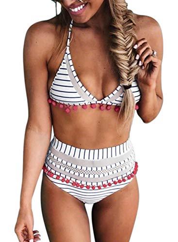 Bdcoco Women's High Waist Two Pieces Bikini Set Halter Straps Tassel Swimsuits