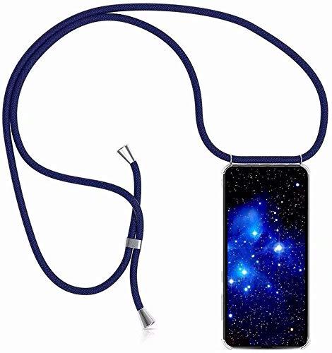 Bigcousin Funda con Cuerda Compatible con Huawei Honor 8X,Transparente de TPU con Ajustable Collar Cadena Cordón,Azul