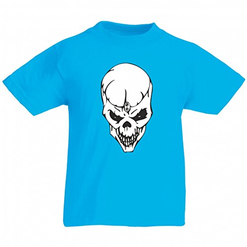 Camiseta con texto en alemán 'Totenschädel von oben mit Öffnungslasche Skelett Rocker Motorradclub Gothic Biker Skull Emo Old School' para hombre, mujer, niños, 104 – 5 XL azul Para Hombre Talla : XX-Large