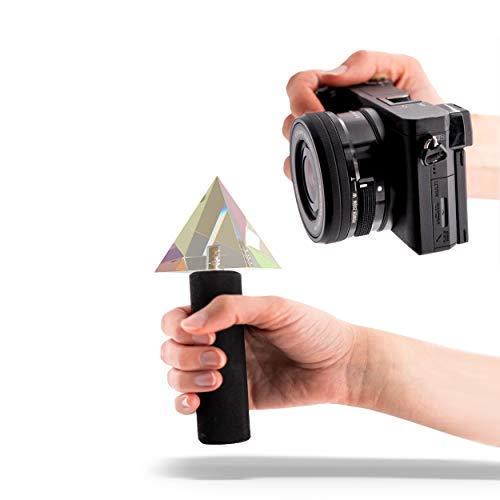 Buntes Pyramiden Prisma für Fotografen mit Handle, 1/4' Gewinde, Kristall Prisma, Regenbogen Prisma, Glaskugel Fotografie, Foto Prisma, Prisma Optik,...