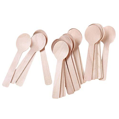 JIFNCR 100 unids/set mini helado cuchara desechable cuchara de madera descongelación rápida postre congelado degustación cuchara helado herramientas vajilla accesorios de cocina