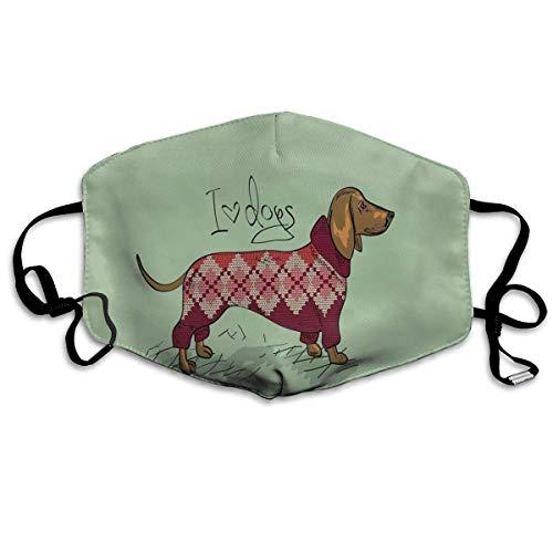 Half Gezicht Cover,Leuke Hond In Gebreide Trui Ontwerp Gedetailleerd Kleurrijke Cartoon Stijl Dierpatroon Gezicht Neus Cover,Stijlvolle Gezicht Neus Covers