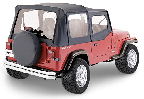 RAMPAGE PRODUCTS 68115 Complete Soft Top Kit with Frame & Hardware for 1987-1995 Jeep Wrangler YJ, with Soft Upper Doors, Black Denim