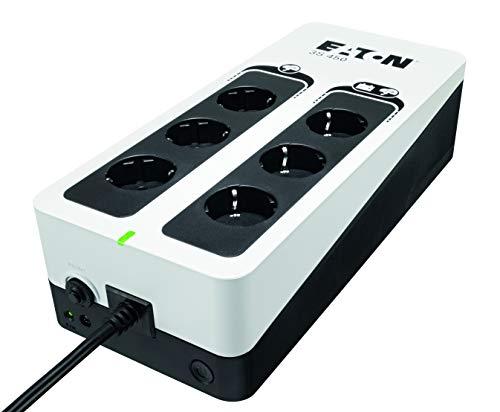 Eaton 3S UPS 450VA - 3S450D - Gruppo di continuità (UPS) - 6 prese DIN - Porta USB - Off-Line - bianco e nero