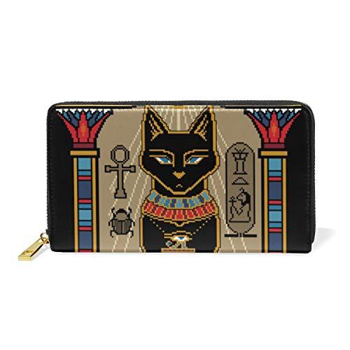 LORONA Egyptian Bastet Katzenleder Langer Reißverschluss Clutch Wallet Geldbörse für Frauen Travel Clutch Bag