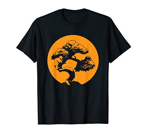 Bonsai Shirt Japanese Trees Zen Buddhist Orange Sunset T-Shirt