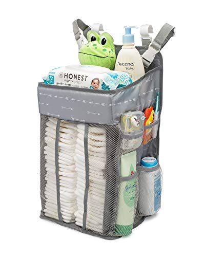 KADUNDI Hanging Diaper Caddy Organizer,Baby Diaper Stacker Bag Storage for Diapers, Wipes & Toys - Baby Diaper Organizer for Crib