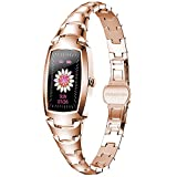 Smart Watch for Women, Waterproof Smart Watches Sports Digital Watch Fitness Tracker with Blood Pressure Heart Rate Blood Oxygen Sleep Monitor Touch Screen Compatible iOS Android Phones (Gold)