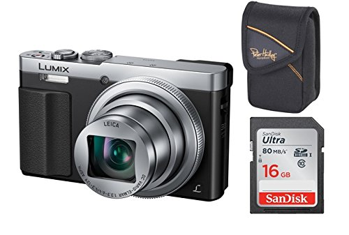 Panasonic Lumix DMC-TZ-71 EG-S Silber Digitalkamera Set + Tasche + 16 GB Speicherkarte (12,1 Megapixel, 30-Fach Opt. Zoom, 7,6 cm (3 Zoll) LCD-Display, Full HD, WiFi, USB 2.0) (Silber)