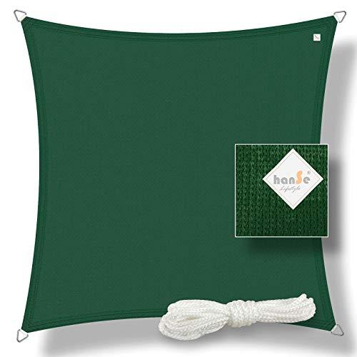 hanSe® Marken Sonnensegel Sonnenschutz Wetterschutz Wetterbeständig HDPE Gewebe UV-Schutz Quadrat 2x2 m grün