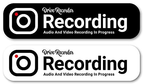 Isaac Trading ドライブレコーダー 録画中 ステッカー 耐水・耐候 英語 ソリッドカラー シール ドラレコ 127×33mm 2色セット 車用 STC-092 (ブラック・ホワイト)