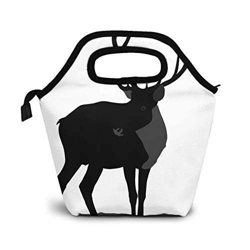 Silueta de ciervo aislado en animal Bolsa de almuerzo Bolsa más fresca Bolsa de asas para mujer Fiambrera aislada Bolsas térmicas de almuerzo para mujeres/Picnic/Paseos en bote/Playa/Pesca/Trabajo