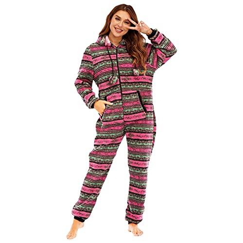 BIBOKAOKE Jumpsuit Onesie Overall Weihnachten Rehkitz Druck Einteiliger Pyjama mit Kapuze Jumpsuit Schlafanzug Damen Freizeitanzug Hausanzug mit Reißverschluss Strampler Nachtwäsche