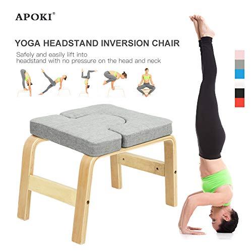 APOKI Yoga Kopfstandhocker,Safe Yoga Kopfstandstuhl,Unterstützt Bis Zu 200 Kg,Yoga Hilft Trainingsstuhl Multifunktionale Invertierte Sportübungsbank Fitnessgeräte Den Perfekten Körper Chair(Upgrade)