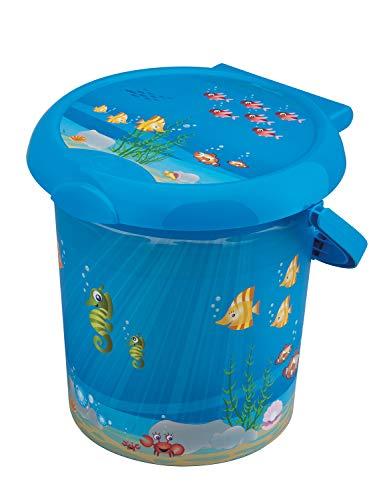 Rotho Baby Design Poubelle à Couches Ocean Style! , Anneau de Retenue pour Sacs Hygiéniques, 11L, À partir de 0 Mois, StyLe!, Bleu, 20215012576