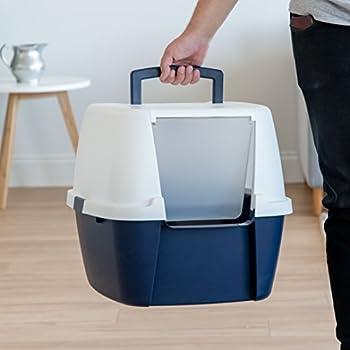Iris Ohyama, Maison de toilette xxl / bac à litière fermé, absence de dispersion, portable, hauteur de l'entrée : 17.8 cm, pelle incluse, pour chat - Jumbo Cat Litter Box CLH-17J - Bleu