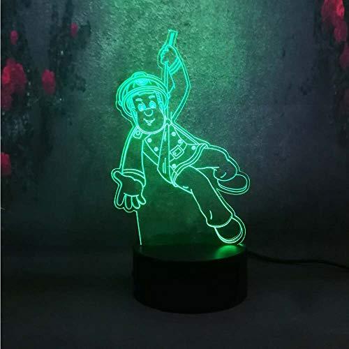 Bombero de luz de noche LED de regalo de niños lámpara de mesa 3D tridimensional colorido colorido | Luz de noche inteligente navideña