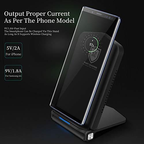 Fast Qi Wireless Charger 10W sin cable 7,5W/10W plegable Soporte de carga inalámbrica Cargador por inducción para iPhone X iPhone 8/8Plus Samsung Galaxy S9/S9+/S8/S8+/S7/Note 8y más, Negro
