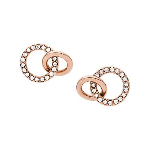 Pendientes de botón Fossil para mujer en oro rosa JOF00627791-JOF00627791