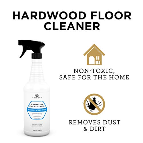 Hardwood Floor Cleaner - Best Wood Cleaning Spray Solution. Restore Natural Beauty, Apply with mop or Machine to Restore and Renew Laminate, high or Low Gloss Floors. TriNova 32oz