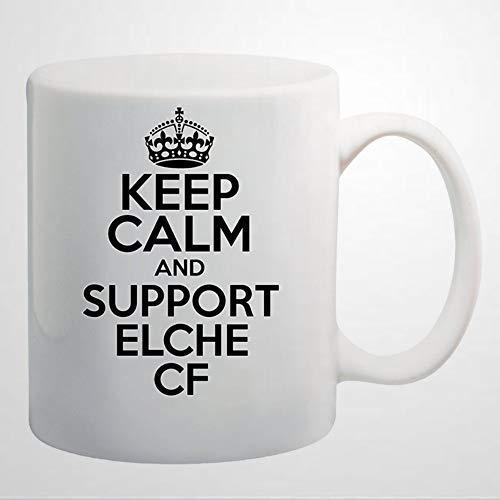 """Divertida taza de café con texto en inglés """"Keep Calm and Support Elche CF Taza de café de cerámica de 12 onzas, el mejor regalo o recuerdo para hombres y mujeres cumpleaños, festival de Navidad"""