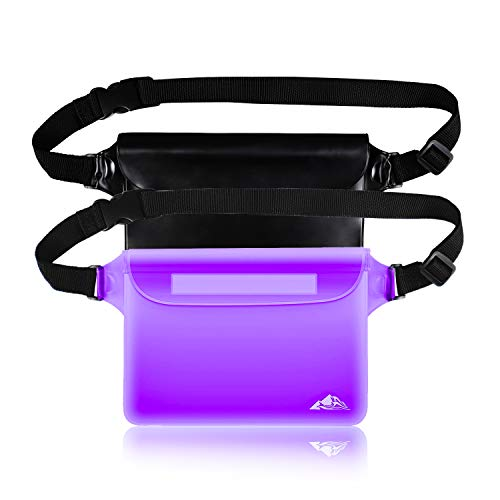 HEETA 2-Pack Waterproof Pouch, Screen Touch Sensitive Waterproof Bag with Adjustable Waist Strap - Keep Your Phone and Valuables Dry - Perfect for Swimming Diving Boating Fishing Beach, Black & Purple