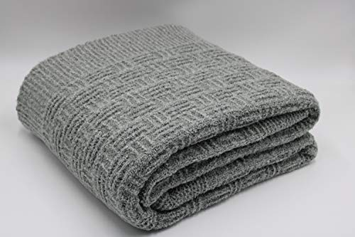 BARROW PLAIDS Manta de Sofa Hilo Bucle 130x170 Diseño Cuadros (Gris)
