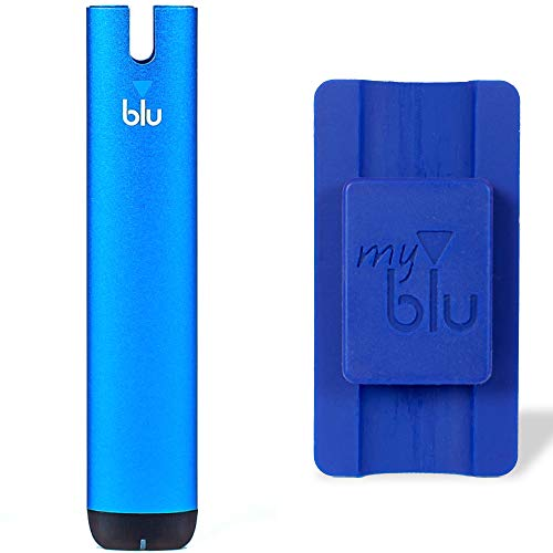 myblu Elektronische Zigarette Vape Device je 350 mAh mit USB Ladestecker - 5 Farben zur Auswahl Ohne Nikotin + Halterung als Zugabe (Blau + Halterung)