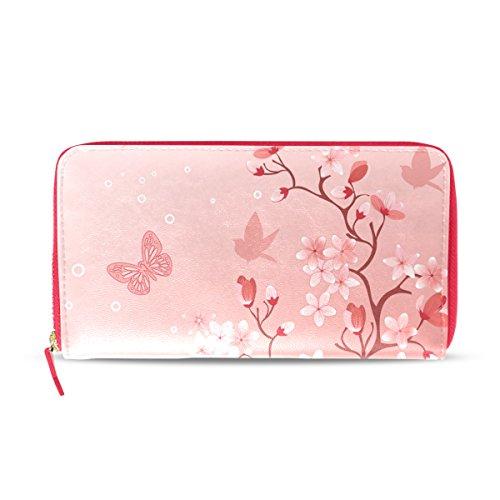 Japanische Sakura Cherry Blossom Damen Leder Geldbörse Clutch, Kartenhalter Geldbörse Handtasche Geschenk für Ihr Mädchen