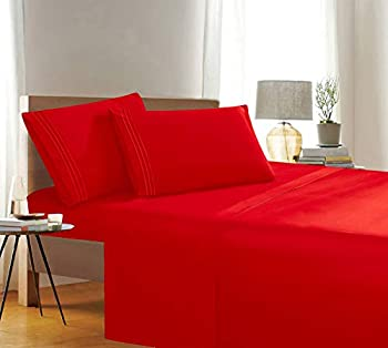 Elegant Comfort 1500 Thread Count Wrinkle & Fade Resistant Egyptian Quality 3-Piece Bed Sheet Set Ultra Soft Luxurious Set Includes Flat Sheet Fitted Sheet and 1 Pillowcase Twin/Twin XL Exotic Red