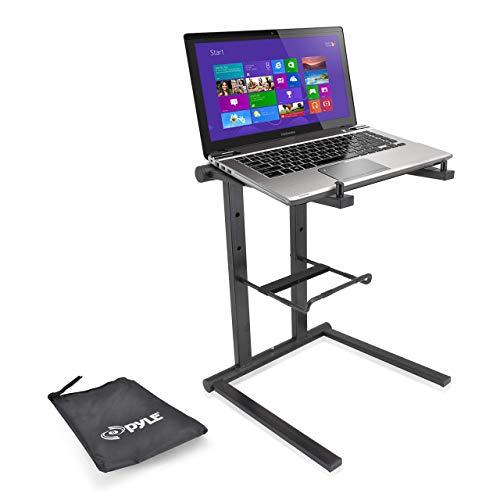 Pyle PLPTS35 Tragbarer Laptop-Ständer – Stehtisch mit Faltbarer Höhe und sekundärer Zubehörablage für iPad, Tablet, DJ-Mixer, Workstation, Gaming und Heimgebrauch