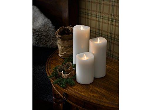 Lot de 3 bougies parfumées à LED avec minuteur 6 h Blanc flamme vacillante Ø 9 cm Hauteur 13/18/23 cm Fonctionne avec 2 piles D 1,5 W