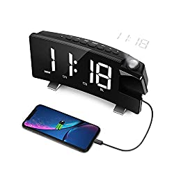LC.IMEEKE Projection Alarm Clock, 7 LED Curved-Screen Large Digital Display, Adjust Brightness Automatically, 12/24 Hour,Dual Alarm Clock with 2 Alarm Sounds, Projection Clock on Ceiling (White)