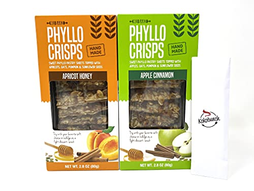 Phyllo Crisps Pastry Dough Sheets Crisp Snack Variety Bundle - Apricot Honey Crisps Apple Cinnamon with Kokobunch Kitby Nu Bake | 2 Pk - 2.8 oz