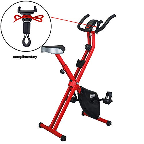 LAZZO Indoor Folding Magnetic Slim Exercise Bike| Bundle Includes Larger Soft seat,Cell Phone...