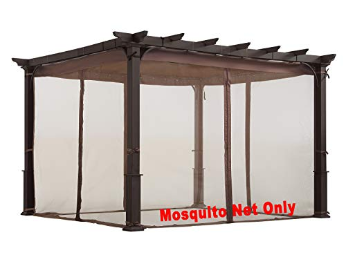 ALISUN Replacement Mosquito Net for Flat-Roof Pergola - Mesh Bug Net Only (10 ft. x 10 ft, Brown)