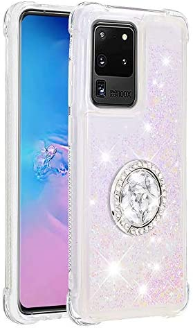 Samsung Galaxy A02S Case met ringhouder 3D Glitter drijfzand Vloeibare Bling Sparkle Leuke Clear Transparant TPU Gel Siliconen Slanke Shockproof Cover Beschermhoes voor Samsung Galaxy A02S Roze
