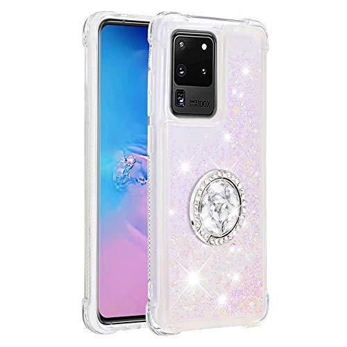 Funda para Samsung Galaxy M51 con soporte para anillo, 3D Glitter Quicksand fluye líquido, brillante, transparente, de gel de TPU de silicona delgada a prueba de golpes, color rosa