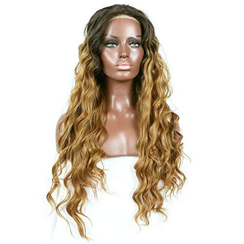 ZWMM Langes Lockiges PerüCkenkopf Frau Natürliche Haarlinie Perücke Braune Wurzeln zu Honig Blonde Synthetische Spitze Front Perücken Loose Wave Frisur 22