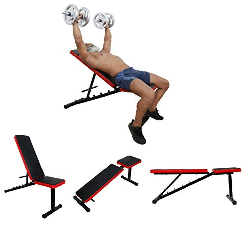 IBS Adjustable Incline, Decline, and Flat Bench- Weight Strength Training, Sit Up Abs Fitness Bench for Full Body Workout of Home Gym.