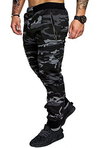 Amaci&Sons Herren Zipper Biker Style Camouflage Trainingshose Jogginghose Sporthose 2007 Camouflage Schwarz S