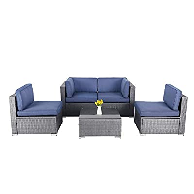 SOLAURA 5 Pieces Patio Furniture Set,Outdoor All-Weather PE Rattan Sectional Sofa Wicker Conversation Set with Glass Coffee Table and Washable Couch Cushions-Navy Blue