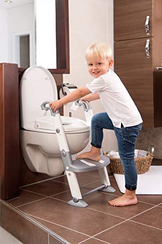Rotho Babydesign KidsKit Entraîneur de Toilettes 3-en-1, De 18 à 36 Mois, Dimensions (Plié) : 41,5 x 25 x 67 cm (LxlxH), Gris/Blanc, 600060240