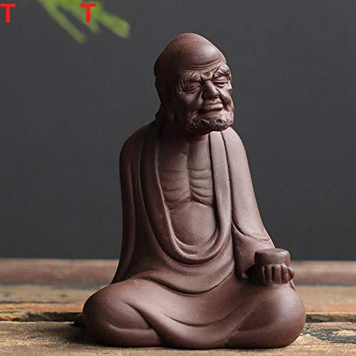 Accessoires pour service à thé Les figurines pour animaux de compagnie de thé Zisha peuvent prendre en charge la sculpture de l'ancêtre du Dharma joue